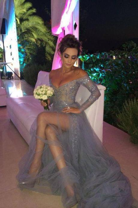 Long Sleeves Off the Shoulder Grey Tulle Prom Dress with Side Slit