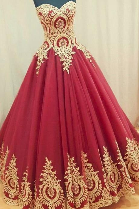 Sleeveless Ruby Ball Gown Prom Dress with Gold Appliques