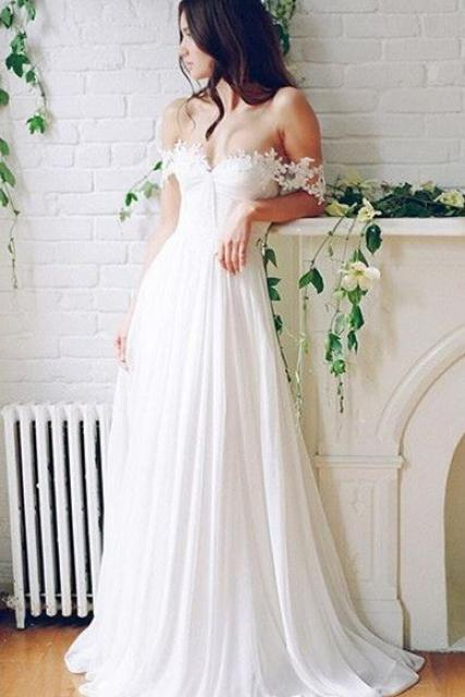 Ivory Chiffon Boho Wedding Dress with Lace Straps