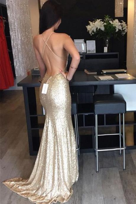 Sexy Champagne Gold Sequin Prom Dress