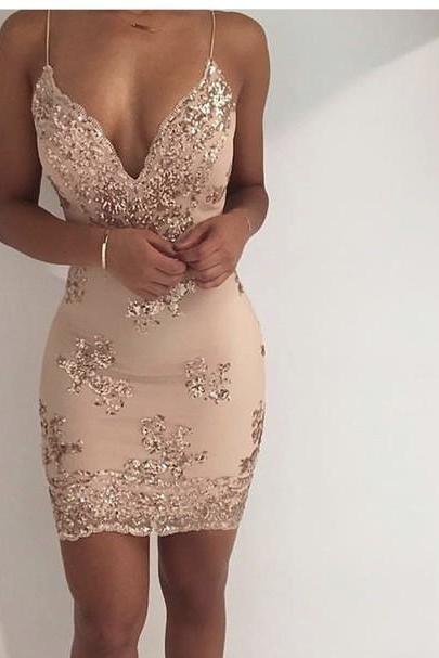 Plunging V-neck Short Sheath Dress , Prom Dress with Shimmery Sequins