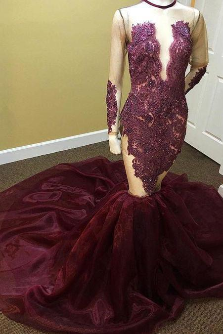 Long Sleeve Maroon Organza Mermaid Prom Dress with Illusion Bodice