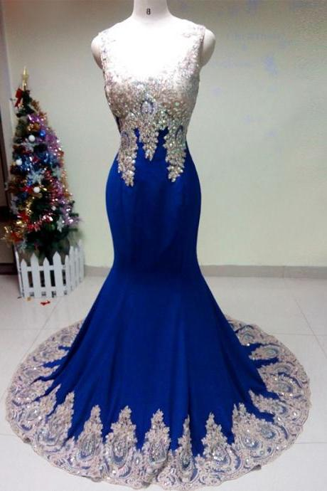 Illusion V Neck Royal Blue Prom Dress with Silver Appliques