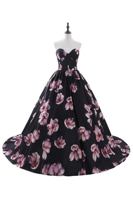 Sweetheart Floral Print Ball Gown Featuring Back Corset