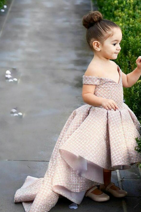 Off the Shoulder Little Girl Dress High Low Little Princess Dress