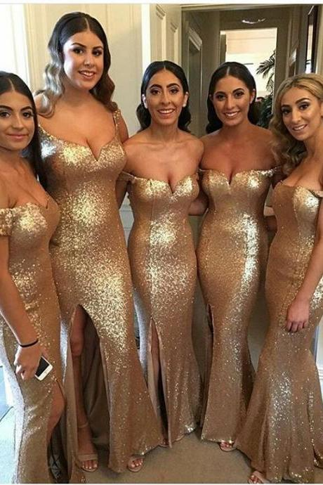 Off the Shoulder Champagne Gold Sequin Bridesmaid Dresses with Side Split
