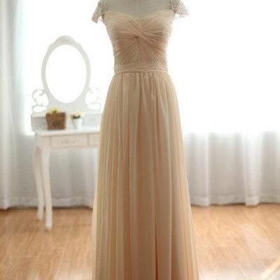 Long Champagne Chiffon Dress with Beaded Cap Sleeves