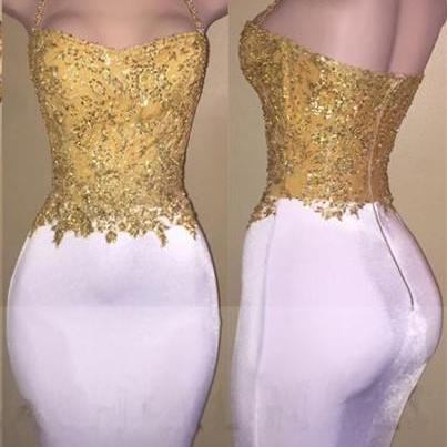 Fitted Tea Length Prom Dress with Gold Appliques