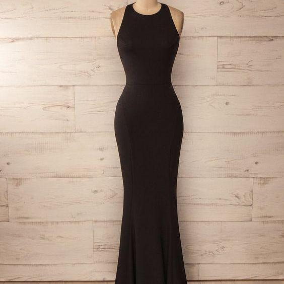 Halter Long Black Prom Dress with Open Back