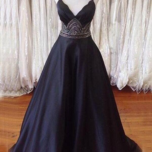 Spaghetti Straps Open Back Black Prom Dress with Beading