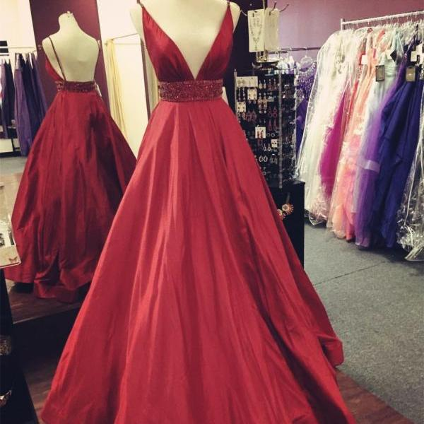 Dark Red Spaghetti Strap Plunging V Beaded A-line Long Prom Dress, Evening Dress Featuring Open Back