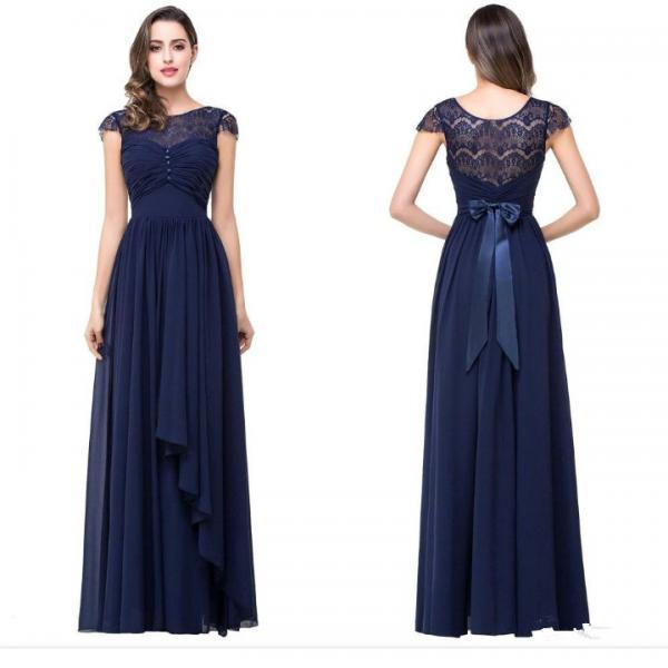 Cap Sleeves Navy Blue Formal Occasion Dress Bridesmaid Dress