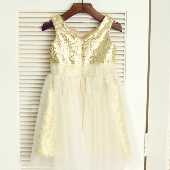 Gold Sequin Toddler Girl Dress with Tulle Overlay