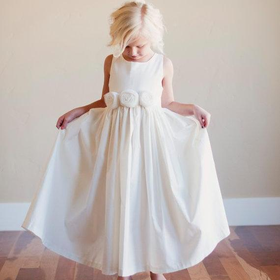 Pearl Ivory Satin Flower Girl Dress with Handmade Flowers