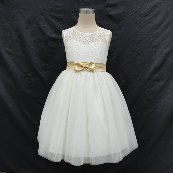 Ivory Flower Girl Dress with Sash