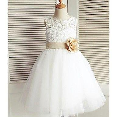 Sheer Lace Neck Ivory Flower Girl Dress with Flower Sash