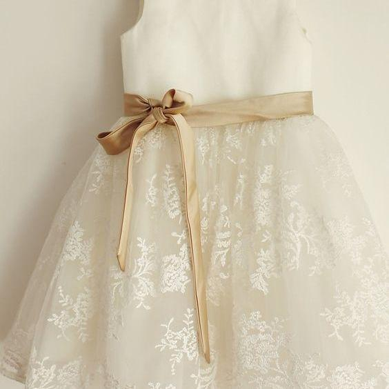 Ivory Tutu Flower Girl Dress with Champagne Sash