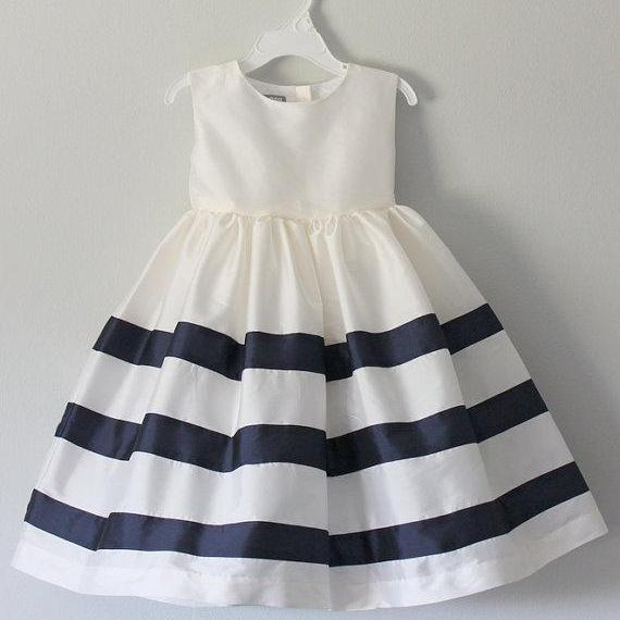 White Taffeta Girl Dress with Navy Stripped Skirt