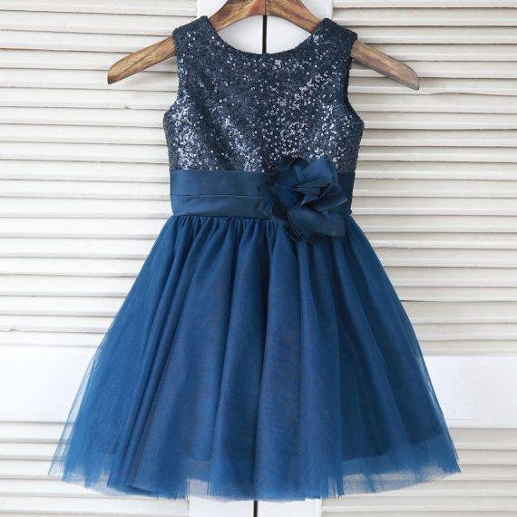 Navy Flower Girl Dress with Sequin Bodice