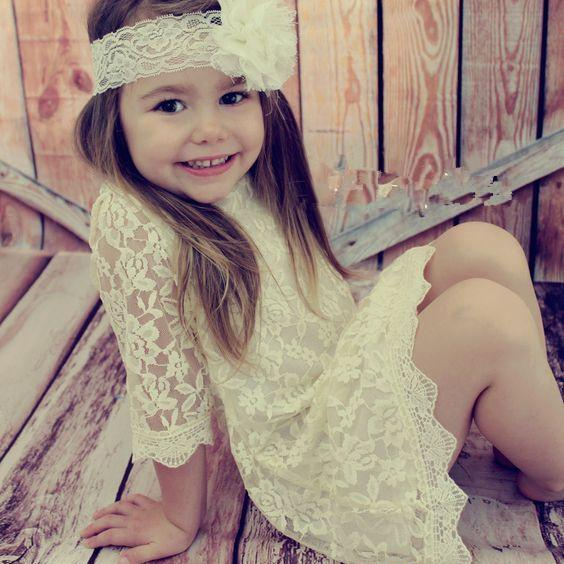 Round Neck Tea Length Lace Flower Girl Dress with Long Sleeves