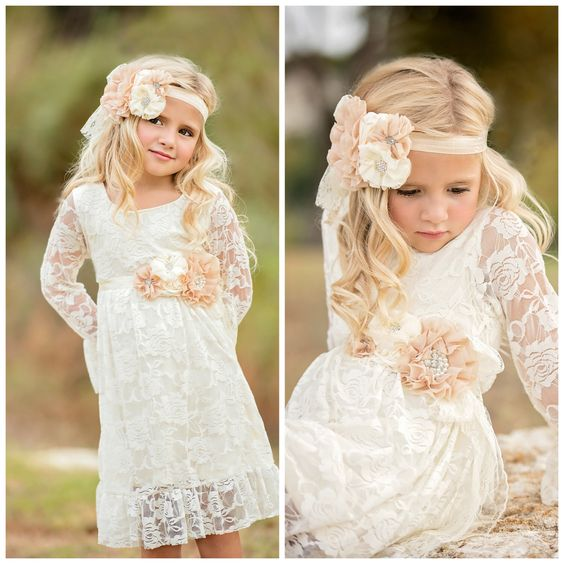 Long Sleeved Tea Length Ivory Lace Flower Girl Dress with Handmade Flowers
