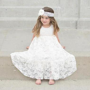 Ankle Length Ivory Lace Flower Girl Dress with Ribbon Sash
