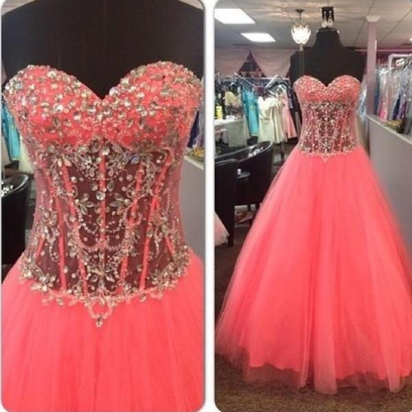 A-line Sheer Bodice Prom Dress with Beads