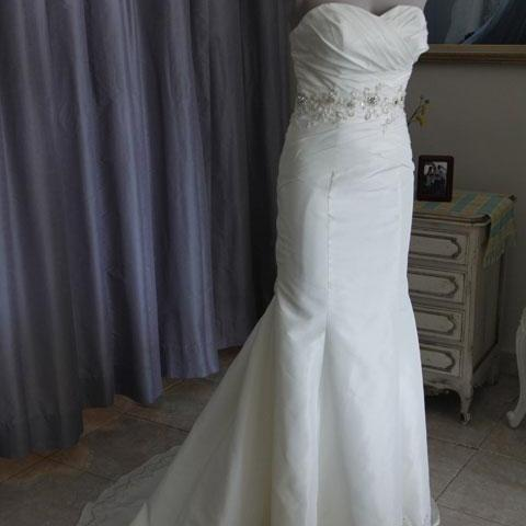 Sleeveless Ivory Satin Wedding Dress with Embroidery