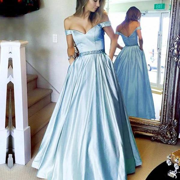 Off the Shoulder Evening Dress Baby Blue Prom Dress