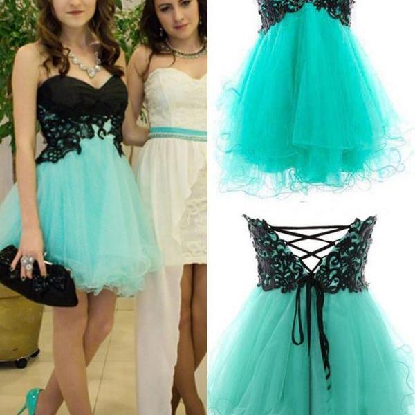 Sleeveless Short Party Dress Short Homecoming Dress with Lace