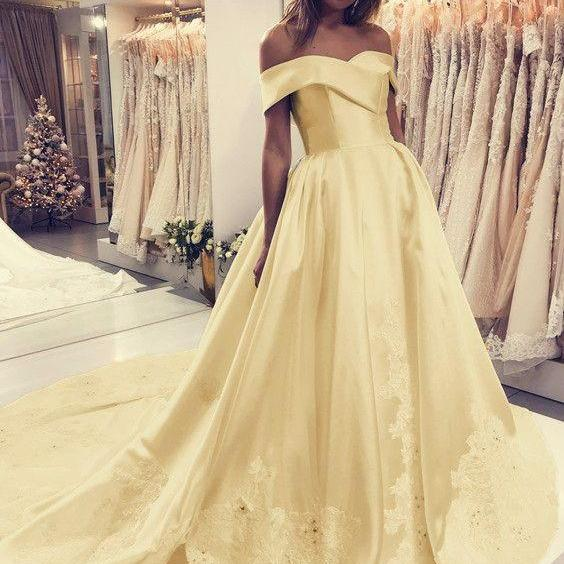 Off the Shoulder Yellow Satin Formal Occasion Dress