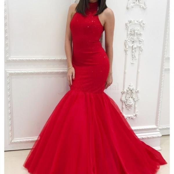 Red Mermaid Prom Dress with Keyhole Back