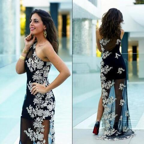 One Shoulder Pageant Dress with Lace