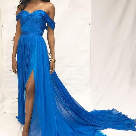 Off the Shoulder Chiffon Prom Dress with Split