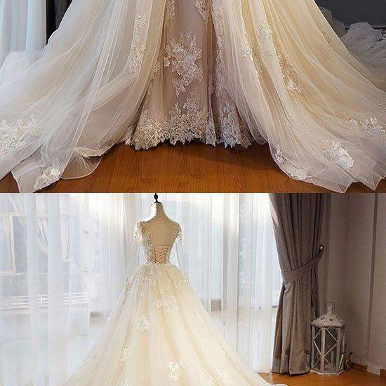 Long Sleeves Wedding Dress with Overlay Train