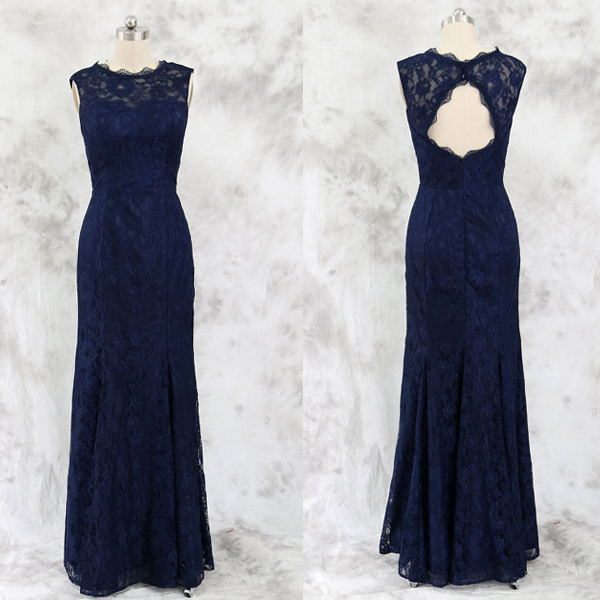 Navy Lace Formal Occasion Dress with Keyhole Back Mother of the Bride Dress Evening Gown