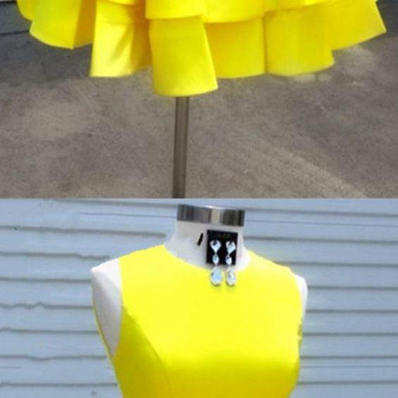 Short Yellow Homecoming Party Dress Dress Semi Formal Dress