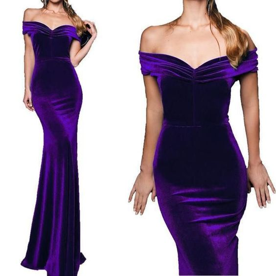 Purple Evening Gown Off the Shoulder Velvet Pageant Dress