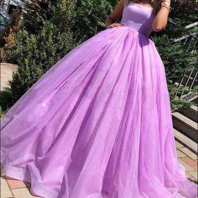 Strapless Lilac Ball Gown Prom Dress with Lace-up Bacl