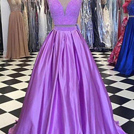 Lavender Two Pieces Prom Dress with V Neck Top