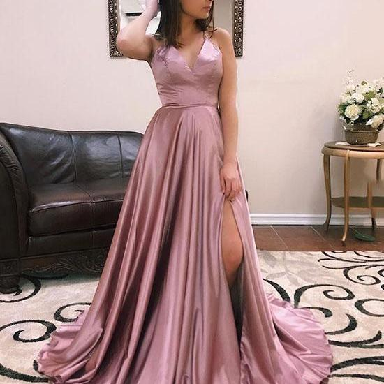 V Neck Simple Prom Dress with Slit