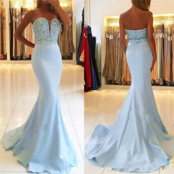 Sleeveless Pale Blue Evening Gown Sweetheart Prom Dress