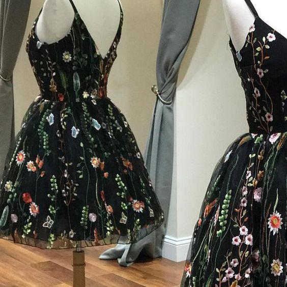 Short Floral Homecoming Party Dress