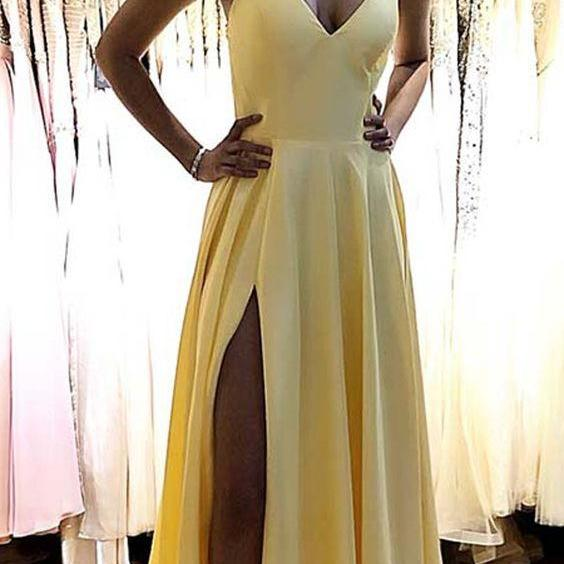 Halter Yellow Prom Dress with Slit