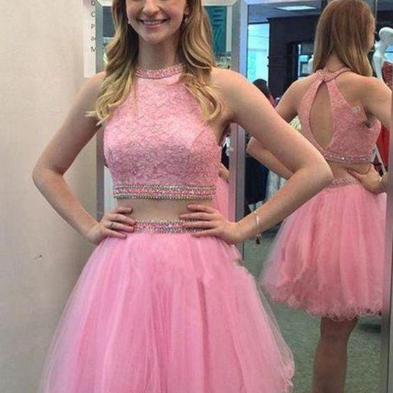 Two Pieces Homecoming Dress Short Prom Dress
