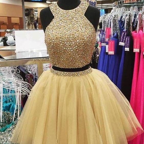 Champagne Two Pieces Homecoming Graduation Dress