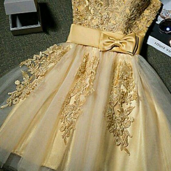 Sleeveless Gold Short Party Dress Homecoming