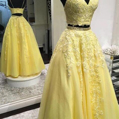 Two Pieces Yellow Prom Dress