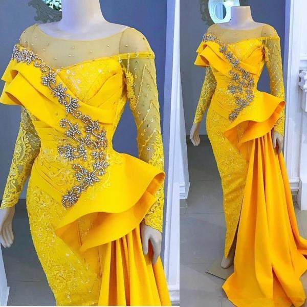 Sheer Neck Long Sleeves Evening Gown with Beads