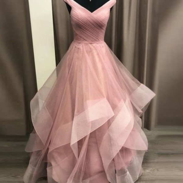 Off the Shoulder Tiered Prom Dress Evening Gown